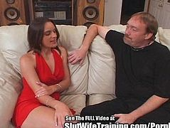 Sexy Lady in Red Double Fucked at Dirty D's