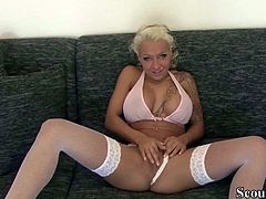 Hottes German Teen Cora in Stockings Blow and Swallow Dick