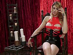 He must obey his shemale mistress Casey Kisses and do everything that she says. If he does not obey her, then he will be punished severely for being naughty. First he sucks on her toes, but soon he has to suck on her cock, too.