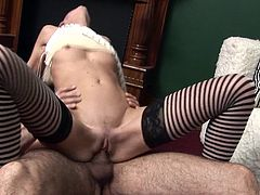 Skinny blonde makes a long cock disappear in her tight pussy