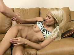 Pretty blonde Amelie Pure moans loudly while a friend fucks her hard