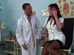 Cute Cindy Dollar gets her tight pussy plowed by a horny doctor