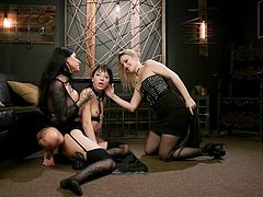This is one really special day for Charlotte Sartre. Today she gets to know a lot about lesbian ass spanking, bondage, punishment & hardcore sex. Hot lesbian threesome & tough rope bondage! Have fun and enjoy!