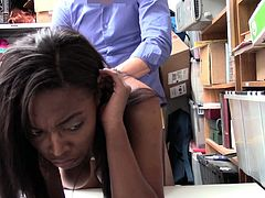 Naughty shoplifting chick Daya Knight gets her slit punished in the back room