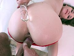 Cute and lovely chick Angel Smalls is fucked in her tight anal hole