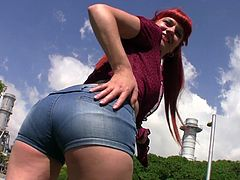 Redhead Lili Lou gets her wet cunt filled with a long pecker