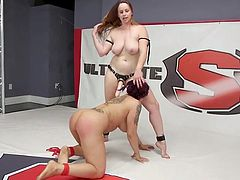 naughty lesbian wrestlers get nasty in the ring