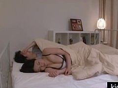 Japanese mom big tits and son share bed