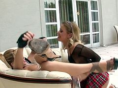 Sultry bitch in sexy police uniform Brooklyn Lee and her nasty college GF fuck one kinky dude