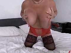 horny redhead bbw mature plays with her big natural monster boobs and masturbating with her big dildo
