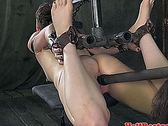 Hogtied submissive fucked with dildo