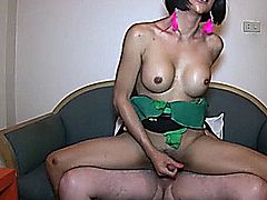Wild shemale slut takes big cock