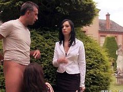 Horny French brunette sluts fuck in threesome in garden outdoors - Brazzers