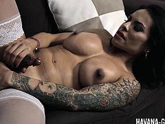 Latina Havana Ginger has a strap-on to fuck her lesbian babe with