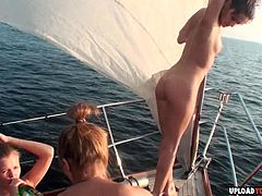 Perfect amateur sluts gets very naughty on yacht