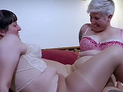 Plump amateur girls Charlee and Violette rip their pantyhose to lick each others hairy cunts and horny assholes