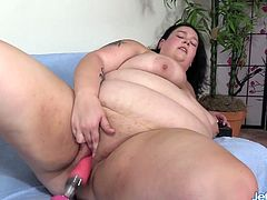 Brunette BBW performs a wonderful blowjob on a fucking machine Then she rides it in her plump pussy in different speeds and positions and she enjoys orgasm in the end
