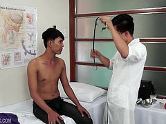 When Doctor Argie instructs Asian twink Freddy to strip naked for his medical exam, he gets a boner. The horny doctor loves Freddys silky smooth Asian skin and adorable Asian boy face, and a bareback fuck session, on the exam table, is inevitable. Of course, the kinky doctor needs to explore Freddys sweet Asian ass hole thoroughly, starting with his finger.