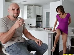 Jmac is on the hunt for something just as sexy as these horny chicks, but older, classier. He finds Alexis and goes over to talk to her, seeking to get her naked and make sure she's well-fucked. After some chatting, she does get those huge melons out, as she masturbates in the kitchen.