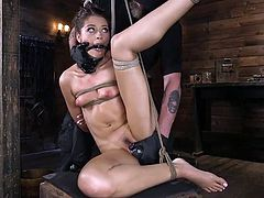 Avi is tied, gagged, and is currently being deliciously tortured by her executor. He puts her in a few different positions and presses a vibrator against her clit, making her muffled moans louder. Now, she's in a hogtied position so he can do more to her. What will he do and how much can she take?