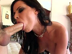 Brunette Brandy Aniston wants to suck his long stiff pecker