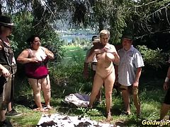 busty german bbw girls in a wild outdoor lederhosen groupsex bukkake fuck orgy