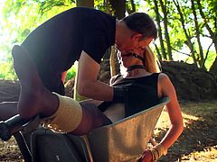 Master punishes blonde slave in the forest and teases her until she cums