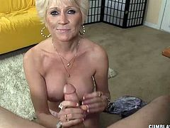 Its a fact that this MILF always wanted to give her boyfriend a cock-blowing handjob. She gets to talk to him as he refused to drink the milk she prepared. Shes so direct to ask him, would you drink milk if I milk you. The young guy couldnt believe his ears and hes more than happy to get her for the job.