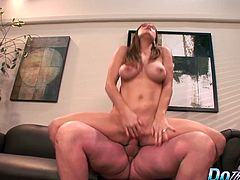 Sexy swinger wife gets her pussy licked and fingered at a porn set in front of her hubby Then she gets her pussy reamed hard and deep in many positions and her hubby watches until he cums in her mouth