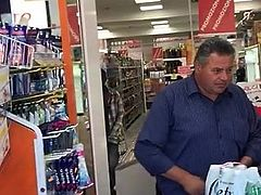 black guy with penis out of his pants in supermarket CFNM