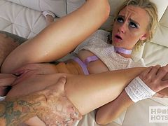 Blond young chick gets messy facial after a hardcore pussy pounding