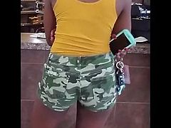Hot ebony long legs shorts candid