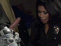 Stunning Latin chick in police uniform Cassandra Cruz is fucked on a car hood