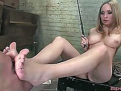 Golden-Haired domina rides her slave's dong
