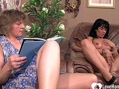 Horny dude gets to fuck a babe as his granny watches and joins sometimes.