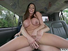 This busty hispanic milf is simply cock hungry. She starts with ball sucking on the backseat of our bus, then she rubs his already hard dick between her huge titties, before taking it deep in her wet pussy...