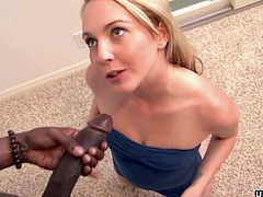 Cock hungry blonde babe Ashley Stone craved for a monster black cock to suck and take it deep up her tight hole so she called a stallion over to bang her up hard.