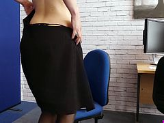 Young secretary Eva is masturbating her pussy in the office