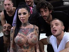 This slutty babe with big and soft tits, Megan Inky, needs sex and the more, the better. Today she has six horny guys with big, rock hard dicks and they are going to fuck her every hole really deep... Hot stuff!