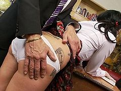 Naughty school girl is punished for misbehaving