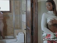 Curvy black teen filled with thick white meat