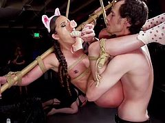 If you like mischievous and kinky bdsm videos, then hasten to join us. Today, we have something special for you: role-play, rope bondage and a little piggy... Are you intrigued? Join and have fun!