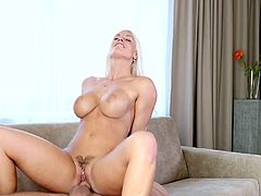 Bleach blonde beauty Blanche Bradburry sucks and sits on dick