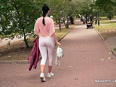 Transparent blouse and  white leggings. cameltoe in public