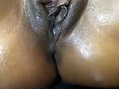 oiled german ebony takes huge creampie