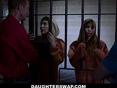 DaughterSwap - Daughter Father Duo Ava Parker and Summer Day Fuck In Prison Cell