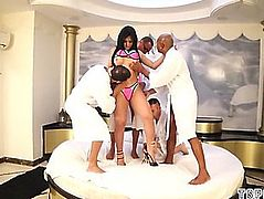 Sexy t-girl group sex with spunk fountain