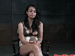Bound sub toyed by maledom with vibrator