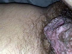 Wife's hairy wet cunt
