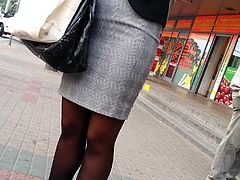 Hot legs in black pantyhose